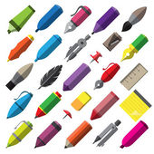 Stationery writing drawing and painting tools icons set — Stock Vector