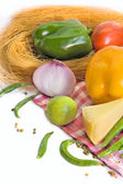 Fresh homegrown vegetables and chees — Stock Photo
