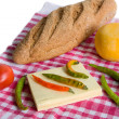 Fresh homegrown vegetables, bread and chees — Stock Photo