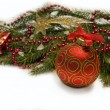 Christmas red ball, twig of fir , beads — Stock fotografie