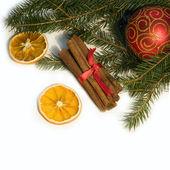 Christmas red ball, twig of fir, orange and cinnamon — Stock Photo