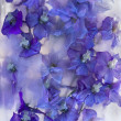 Foto Stock: Background of delphinium flower frozen in ice
