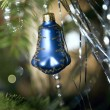 Christmas blue bell ball with twig of fir — Stock Photo
