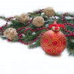 Christmas Decoration: Christmas red ball, twig of fir and beads — Stock Photo