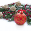 Christmas red ball and wig of fir — Stock Photo #37647595