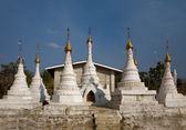 White Buddhist Stupas. Indein — Stock Photo