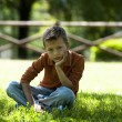 Sad worried little boy — Stock Photo