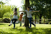 Children playing tag — Stock Photo