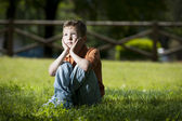 Little boy deep in thoughts — Stock Photo