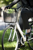Businesswoman biking — Stock Photo