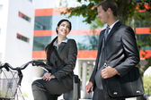 Businesspeople meeting outdoors — Stock Photo