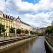 Stock Photo: City landscape and river Teplin Karlovy Vary