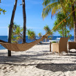 Hammock on a white sand tropical beach on Malapascua island, Philippines — Foto de Stock