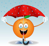 Orange under an umbrella — Stock Vector