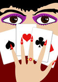 The girl with playing cards — Stock Vector