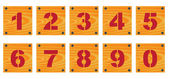Wooden signs with numbers — Stock Vector