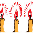 Stock Vector: Three burning candles