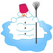 Melting snowman — Stock Vector