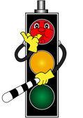 Cartoon red traffic light — Stock Vector