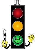 Cartoon green traffic light — Stock Vector