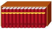 Bookshelf with books — Stock Vector