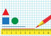 Lineal und Bleistift — Stockvektor
