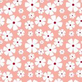 Patrones sin fisuras con flores sobre un fondo rosa — Vector de stock