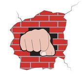 Fist burst through brick wall — Stock Vector