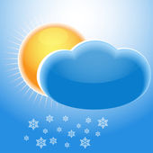 Sun, cloud and snowflakes — Stock Vector