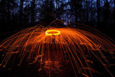 Lightpainting in forest — Stock Photo