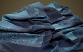 Blue silk tender colored textile, elegance rippled material — Stock Photo