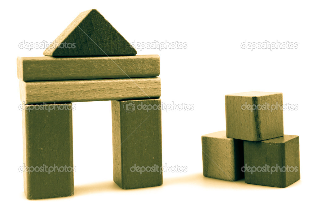 Wooden building blocks isolated on white background. — Stock Photo #13344009