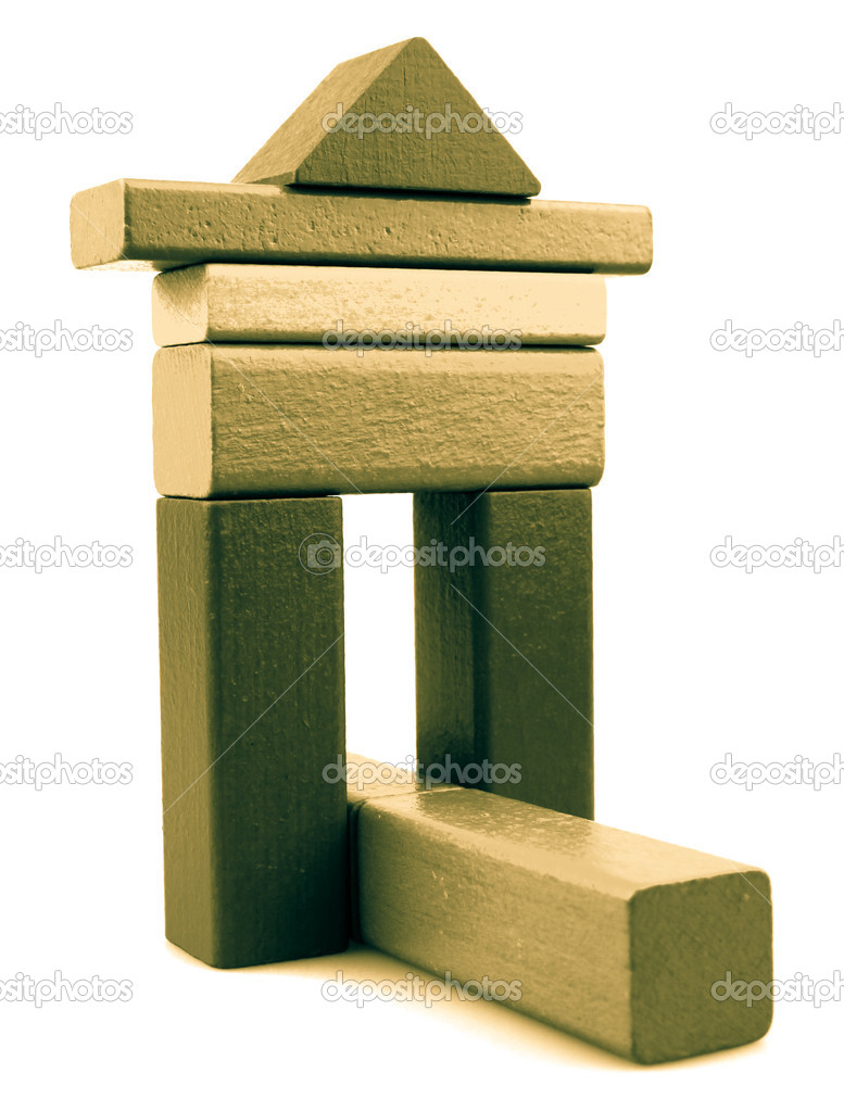 Wooden building blocks isolated on white background. — Foto Stock #13344017