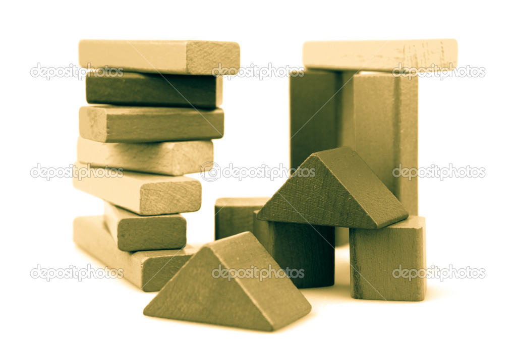 Wooden building blocks isolated on white background. — Stock Photo #13344037