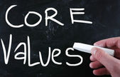 Ethics concept - core values handwritten with white chalk on a b — Stock Photo