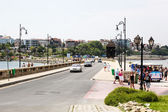 Vista de la ciudad nessebar viejo y el mar, bulgaria — Foto de Stock