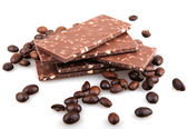 Chocolate with coffee on white background — Stock Photo