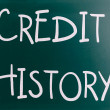 """Credit history"" handwritten with white chalk on a blackboard — Stok fotoğraf"