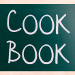 Cook book handwritten with white chalk on a blackboard — Stock Photo