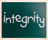 """Integrity"" handwritten with white chalk on a blackboard — Stok fotoğraf"