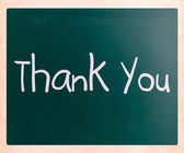 """Thank you"" handwritten with white chalk on a blackboard — Stock Photo"