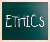"""Ethics"" handwritten with white chalk on a blackboard — Stok fotoğraf"