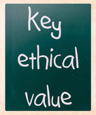"""key ethical value"" handwritten with white chalk on a blackboard — Stock Photo"
