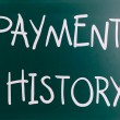 Payment history handwritten with white chalk on a blackboard — Stock Photo