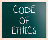 """Code of ethics"" handwritten with white chalk on a blackboard — Stock Photo"