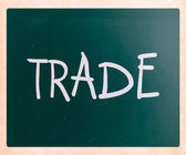 """Trade"" handwritten with white chalk on a blackboard — Stock Photo"