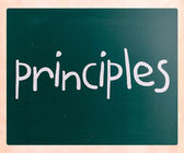 """Principles"" handwritten with white chalk on a blackboard — Stok fotoğraf"