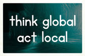 Think global act local concept — Stockfoto