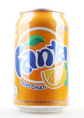 AYTOS, BULGARIA - JANUARY 25, 2014: Fanta bottle can isolated on — Stock Photo