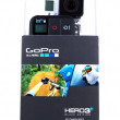 GoPro HERO3 Black Edition isolated on white background. GoPro is brand of high-definition personal cameras, often used in extreme action video photography. — Stock Photo #41020853